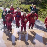 Jumping in puddles - having fun together